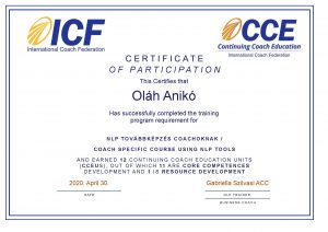 Oláh Anikó certificate - NLP tools in coaching