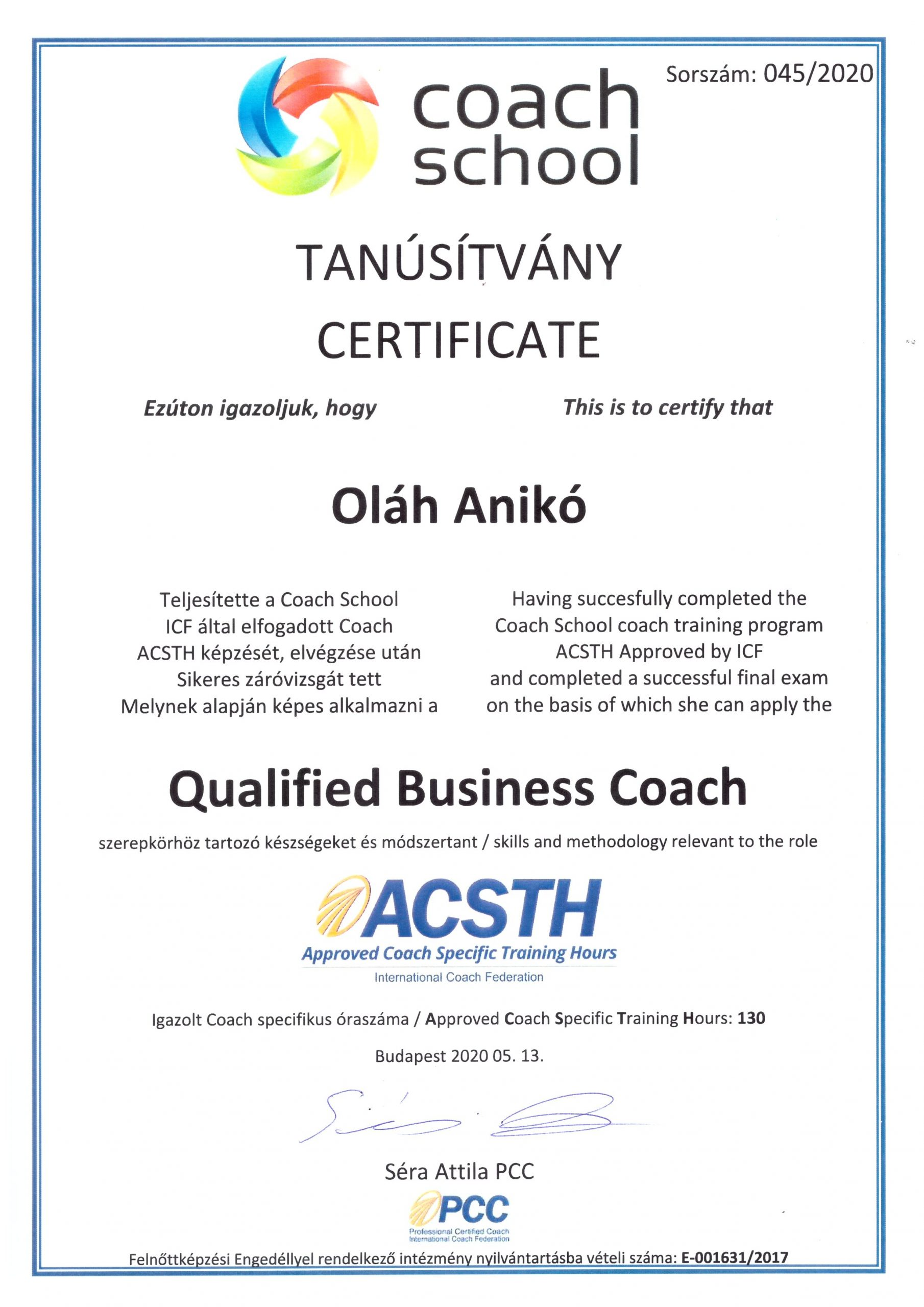 Oláh Anikó ICF accredited qualified business coach